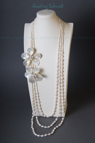 Necklace - 3-Strand White Freshwater Pearls with 2 Sea Shell Flowers with Pearls and Crystals