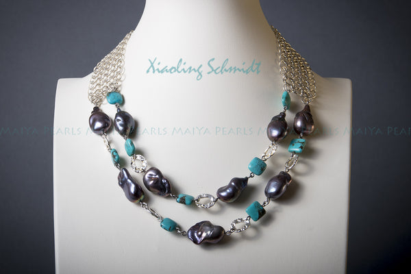 Necklace - Exquisitely Hand-crafted Large Black Pearls with Turquoise (Sterling Silver)