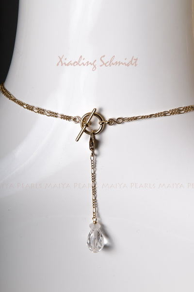 Necklace - Natural Crystal Quartz Moonstone & 14K Gold Wire