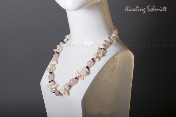 Necklace - Exceptional Multi-Pearl with Garnets and Rose Quartz