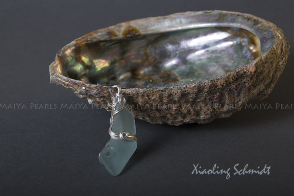 Pendant - Large Sea Glass with Sterling Silver Wirework