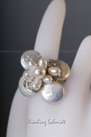 Ring - Pearl Flower with Argentium Silver