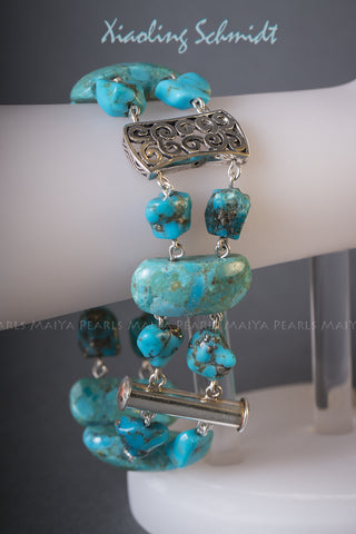Bracelet - Unique Turquoise Design with 925 Sterling Silver Clasps and links