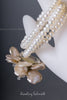 Peach Pearl Bracelet with Flower Brooch
