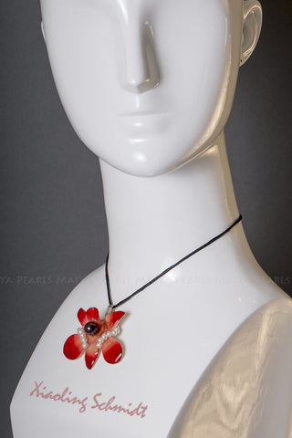 Pendant - Real Orchid with Pearls