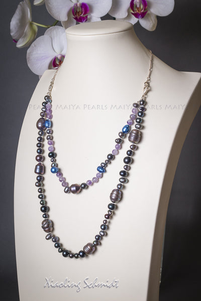 Necklace - Multi colour dyed freshwater pearls and Amethysts
