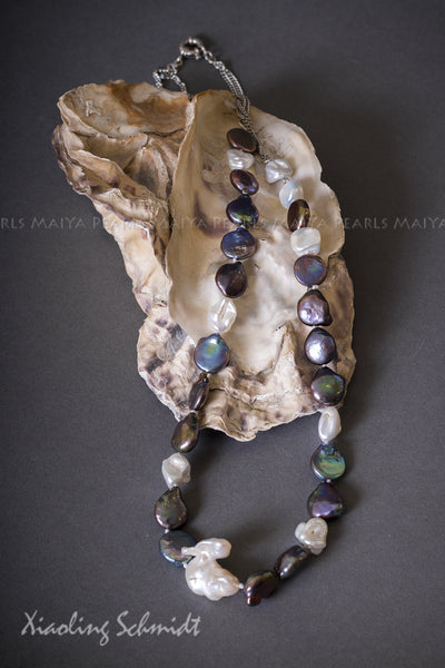 Necklace - Exquisite Keshi Multi Colour Pearls with Sterling Silver Chain