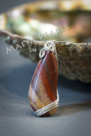 Unique Designer Pendant - Natural Agate with Argentium Silver Fittings (complimentary chain included)