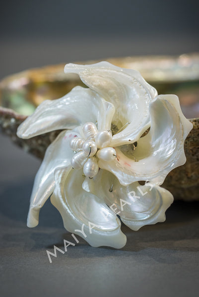 Brooch / Pendant - Large Seashell and Pearl Flower