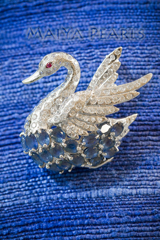 Brooch - Elegant Swan with Blue Sapphire & Natural Ruby & Cubic Zirconium with 14K White Gold