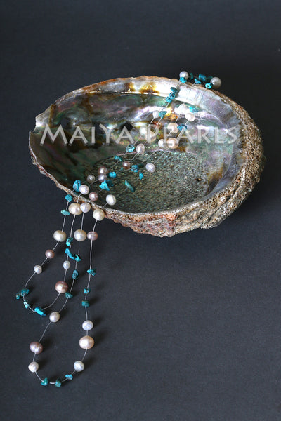 Illusion Necklace - 2-Strand with Turquoise and Pearls