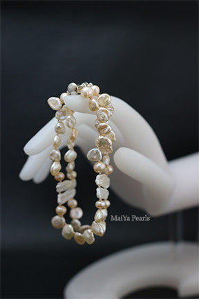 Bracelet - Freshwater Peach Baroque Pearls and Long White Flat Keshi Pearls