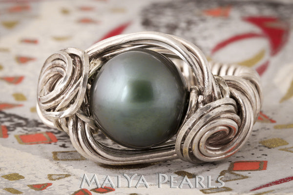 Ring - Custom Wirework Argentium Silver and Black Pearl