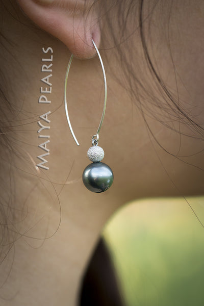 Earrings -  AAA Tahitian Black Pearl with 14K Gold Beads & 930 Argentium Silver Ear wire