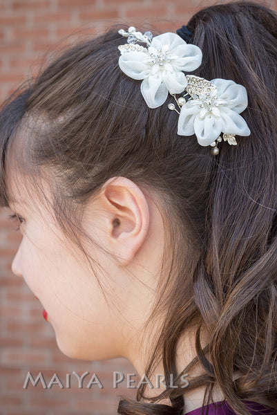 Hair Comb - Fabric Flowers and Rhinestones