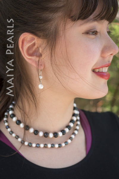 Necklace -  Double Strand Black and White Freshwater Pearls & 925 Sterling Silver