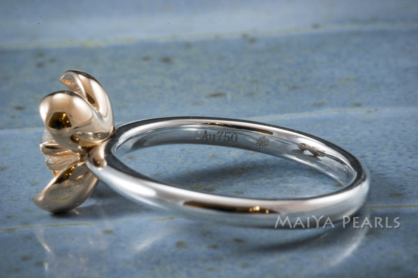 Ring - Top Quality Rose Gold Flower with Diamond