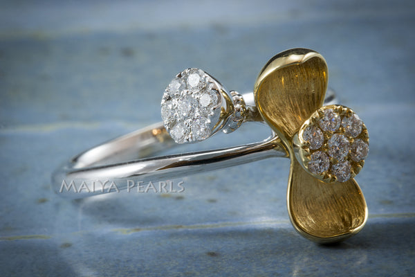 Ring - 18K Gold Flower and White Gold Band with Diamonds