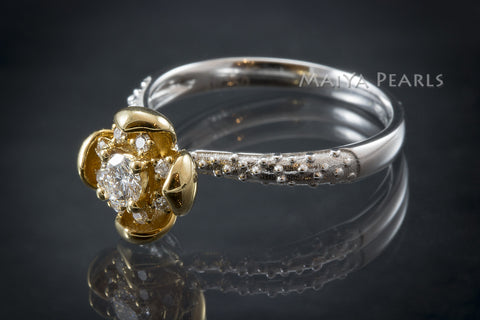 Ring -  Exquisite 18K Gold Flower and White Gold Band with Diamonds