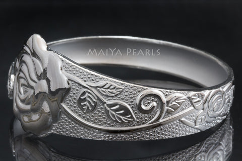 Rose Cuff Bracelet - Pure 999 Solid Silver Rose Design