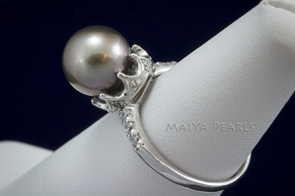 Ring - Tahitian Black Pearl with 925 Sterling Silver & Rhodium Crown Setting
