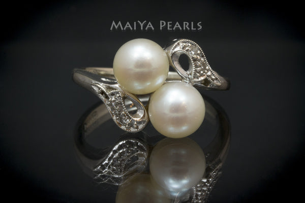 Ring - Double Saltwater Pearls with 14K White Gold & Diamonds