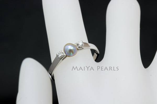 RARE Natural Pearl Ring - 14KW with Wild Natural Paua Pearl & 2-1Pt Diamonds