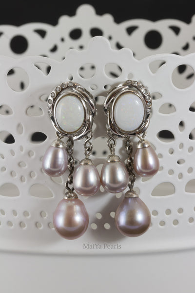 Earrings - Opal & Purple Pearls FW