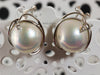 Earrings -  Large Mabé Pearls with White Gold and Diamonds