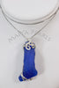 Pendant - Large Blue Sea Glass and Argentium Silver Wirework