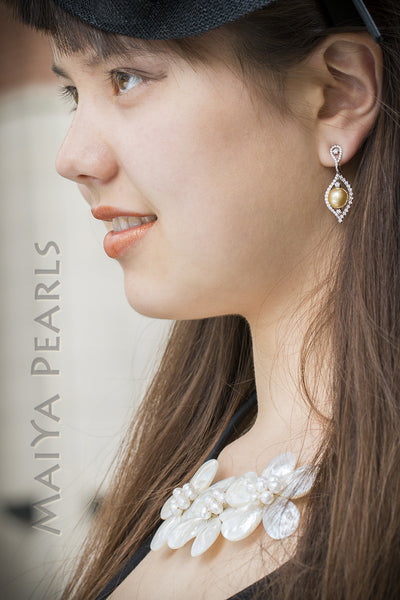 Exquisite Earrings - Large South Sea AAA Gold Pearls & 18K Gold & Diamonds