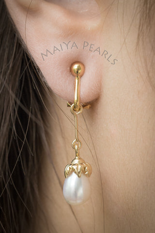 Earrings - 18K Gold Dangling Pearl Drops with Omega Clasp