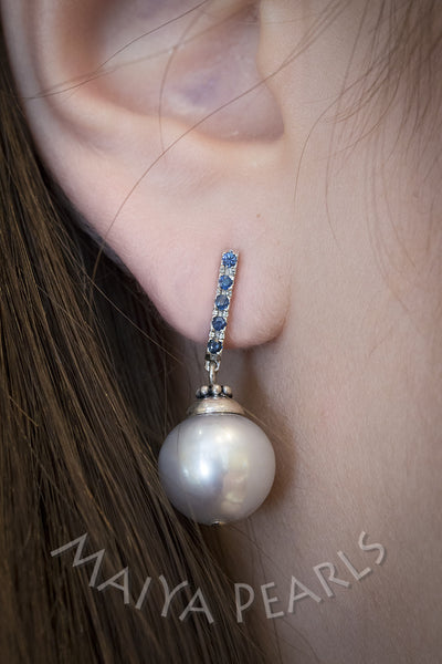 Earrings  -  Superb Silver Pearl, Blue Sapphires &14K White Gold