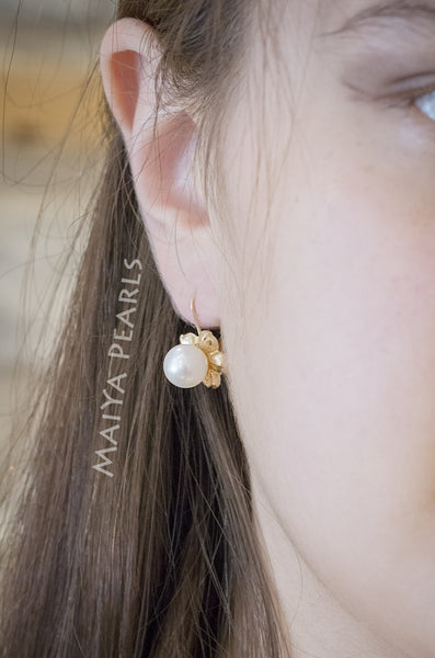 Earrings - Fine Freshwater Pearls with 14K Gold Flower Setting