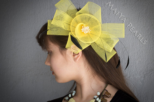 Fascinator  -  Yellow or Pink Bow Hair or Clothing Accessory