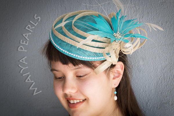 Fascinator  -  Turquoise Round with Feather Flower