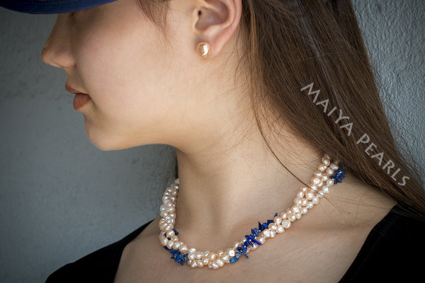 Necklace -  Triple Strand Twisted Peach and White Baroque Pearls with Lapiz Lazuli