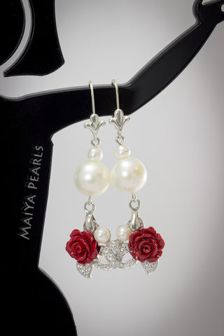 Earrings - Red Rose, white cultured pearls with cubic zirconia