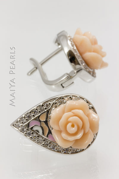 Earrings - Peach Rose enamel