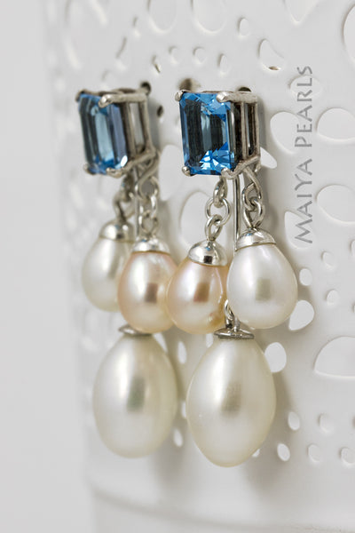Earrings - Pink and White Oval Pearls with Swiss Blue Topaz