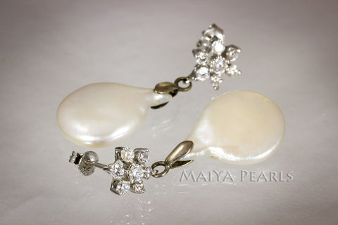 Earrings - Flat Coin Pearl with Flower cut gems