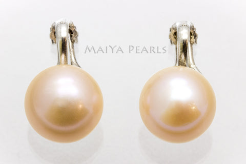 Stud Earrings - Clip On Freshwater Peach Pearl Studs