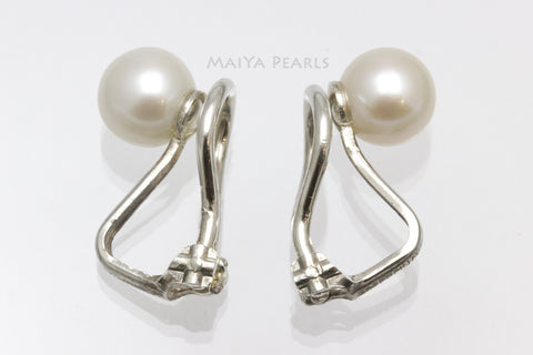 Stud Earrings - Clip On White Round Freshwater Pearls