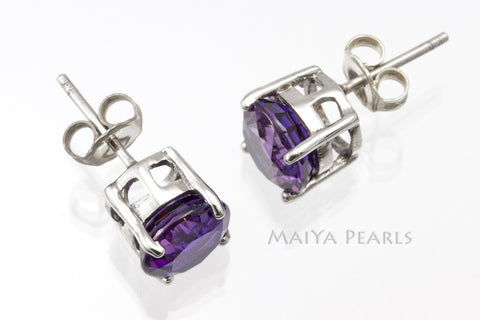 Stud Earrings - Purple Sapphire Studs & 925 Sterling Silver