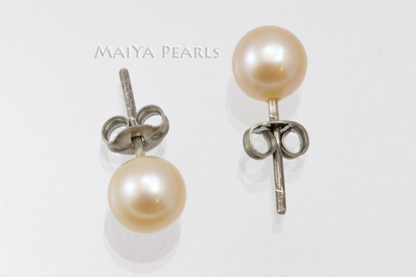 Stud Earrings - Round Pearl (White, Peach, Purple, Dyed Black)