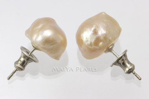 Stud Earrings  -  Peach Baroque Freshwater Pearl