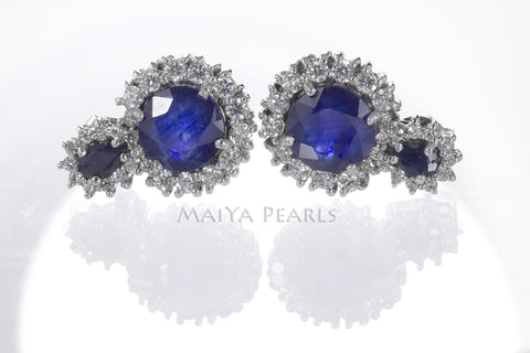 Stud Earrings - Blue Cashmir Sapphire and White Saphire on 925 Sterling Silver