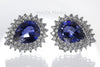 Stud Earrings - Blue and White Sapphires