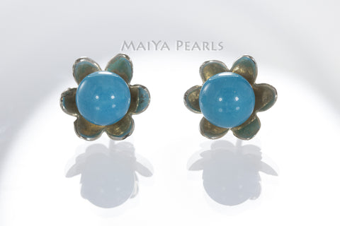 Stud Earrings - Sleep Beauty Turquoise & 925 Sterling Silver Flowers