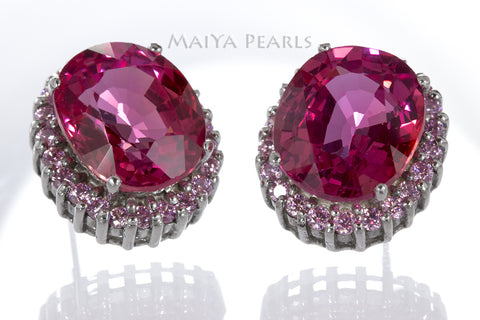 Stud Earrings - Pink Orange Sapphire & 925 Sterling Silver Clasp